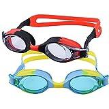 2 Piezas Gafas de Natación Infantil Protección UV Gafas para Nadar con Caja Protectora Profesional Antivaho Sin Fugas Ajustable Gafas de Buceo Silicona para Gafas de Natación Unisex Niños(Negro/azul)