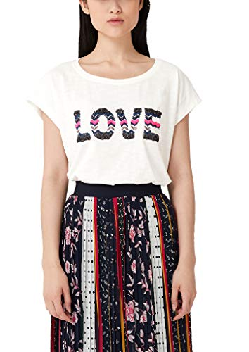 s.Oliver Damen Flammgarnshirt mit Embroidery creme placed love print 36