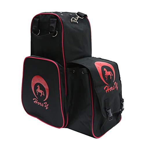 UNISTRENGH Professional Horse Riding Boots Carry Bag Waterproof Equestrian Horse Riding Bag with Helmet Compartment (Black/Red)