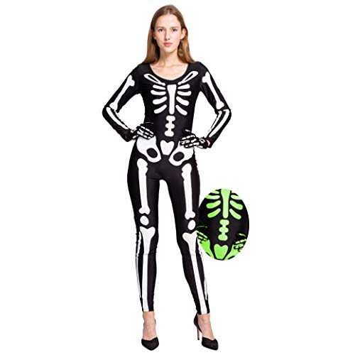 Spooktacular Creations Skeleton Glow In The Dark Bodysuit Halloween Costumes for Women with Skeleton Gloves (Large)