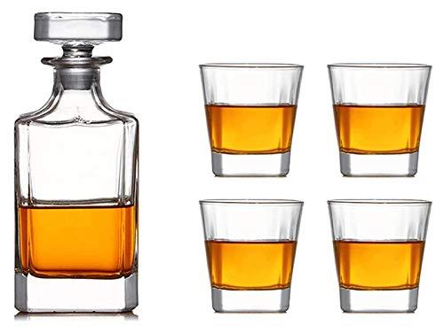 Copas de cóctel, Dispensador de botellas de licor 5pc Decantador de whisky transparente con cuatro gafas de whisky de 320 ml, conjunto de cristal de vidrio decantador conjunto de regalo de whisky
