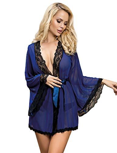 comeondear Mujer Lencería Bata de Encaje Talla Grande Ropa Interior Kimono Lace con Cinturón y Tanga(Azul, XL-2XL)