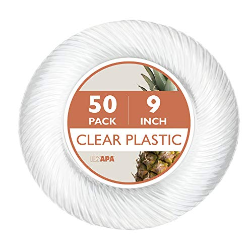 Premuim Disposable Plastics for Party or Wedding in Multiple Sizes & Styles (50, 9 in. - Clear)