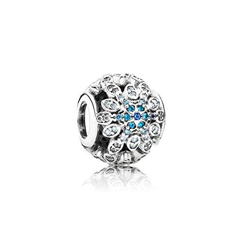 Pandora Damen-Charm Eisblauer Schneeflocke 925 Silber Zirkonia blau Brillantschliff - 791760NBLMX