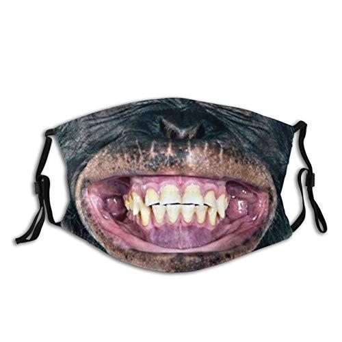 Monkey Laughing Face Mask Bandanas Balaclava, Washable Breathable With 2 Filters, For Men Women &Teenage