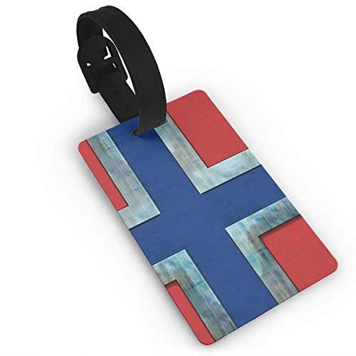 JKOVE Etiquetas Equipaje,Retro Norway Flag identificador de Maletas de Etiqueta de Plano patrón Equipaje Bolso ID Tag portatarjetas con Llavero