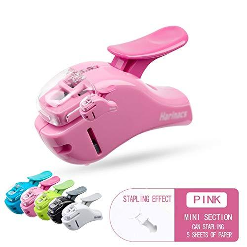 Geen naald mini nietje, handdruk kunst design - licht en comfortabel, neemt 50% minder moeite, voor thuis of op kantoor AAA-nietmachine roze