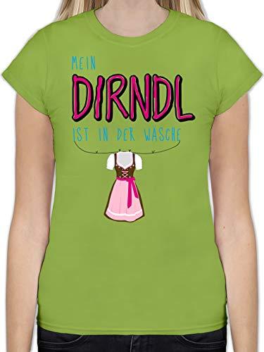 Oktoberfest Damen - Mein Dirndl ist in der Wäsche - XXL - Hellgrün - Tshirt Damen Dirndl - L191 - Tailliertes Tshirt für Damen und Frauen T-Shirt