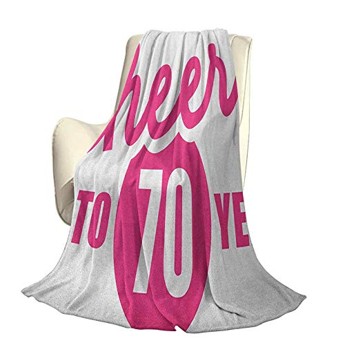 70th Birthday Soft Plush Warm Blanket Suitable for All Seasons Cheers to 70 Years Old Hand Written Calligraphy Birthday Party Image Travel Home Office use W60 x L50 Inch Hot Pink and Black