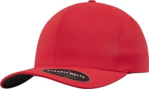 Flexfit Delta Baseball Cap, Unisex Basecap aus Polyester für Damen und Herren, ohne Naht, wasserabweisend, red, S/M