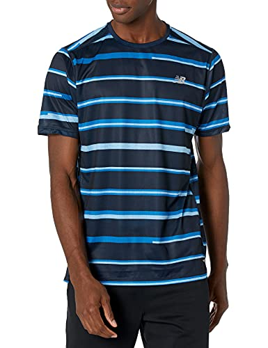 New Balance Printed Impact Run Short Sleeve Camisa, Helio, L para Hombre