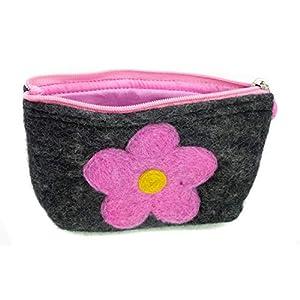 feelz – Kosmetiktäschchen mit Blume anthrazit mit grün, pink oder rosa aus Filz Täschchen, Aufbewahrung von Kosmetik…