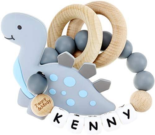 Baby Keepsake Rattles Personalized Name Novelty Customized Rattle Shaker with Silicone Cartoon product image
