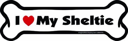 Imagine This Bone Car Aimant de voiture I Love My Sheltie 5,1 x 17,8 cm