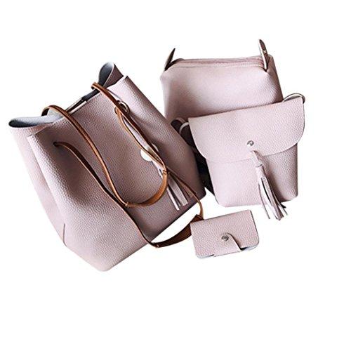 SUNNSEAN Tasche,Mode Frauen Vier Sätze Mode Handtasche Schultertasche Vier Stücke Einkaufstasche Crossbody Daypacks Umhängetasche (Rosa)