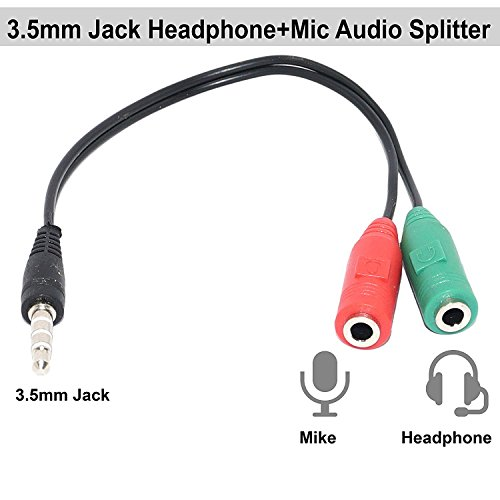 Headset Adapter Y Splitter 3.5mm Jack Cable with Separate Mic and Audio Headphone Connector Mutual Convertors for Gaming Headset, PS4, Xbox One, Notebook, Mobile Phone and Tablet