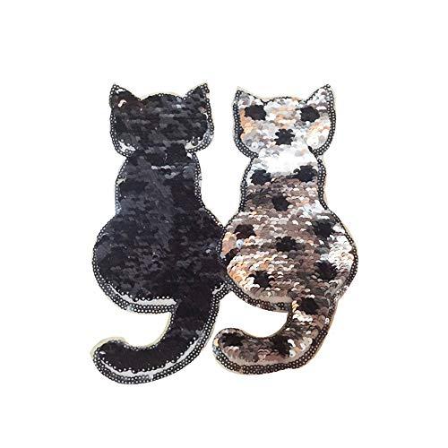 CTGVH 1 Stück Katze wendbar Farbwechsel Pailletten Aufnäher für Kleidung DIY Patch Applikation Tasche Kleidung Mantel Jeans Handwerk Schwarze Katzen
