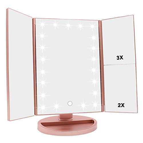 WEILY Tri-fold Vanity Mirror, 21 LEDs and 2X/3X Magnification, Touch Switch for Adjusting Brightness, Dual Power Supply mode Makeup Mirror (Rose Gold)