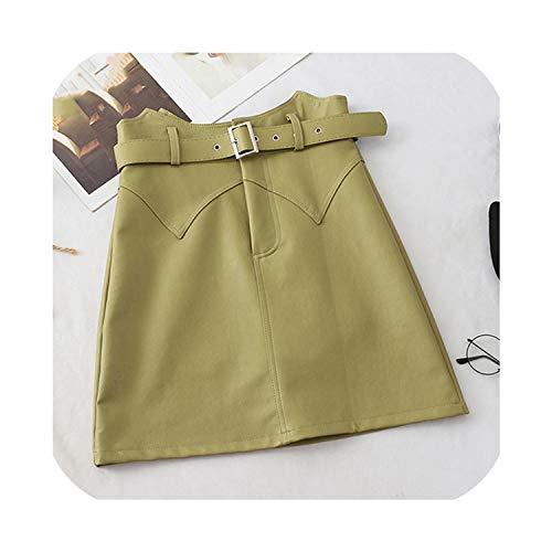 Nieuwe Onregelmatige Hoge Taille Vrouwen Pu Lederen Rok Dames Mini Office Rok Een Lijn Korte Groene Rok