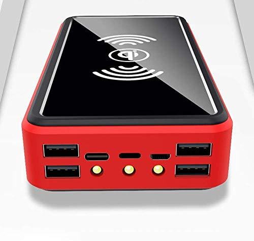 Wttfc 100000Mah Banco de la energía del Cargador inalámbrico portátil Solar - batería Externa con LED indicador de Estado, de Alta Capacidad para el Powerbank, para el iPhone, Android, Rojo