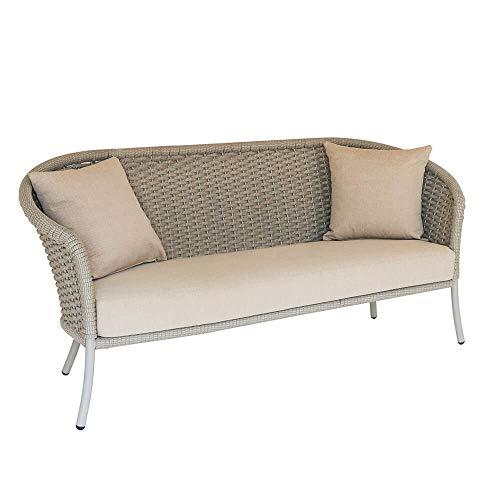 Sofá de jardín de Aluminio y Cuerda para Exteriores de 3 plazas - Sofá Austen/Carbón