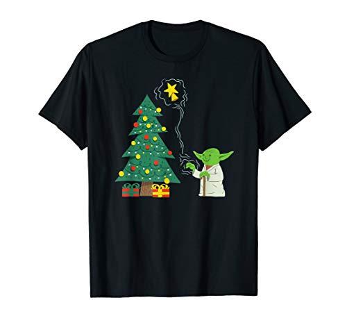 Star Wars Holiday Yoda Decorates Christmas Tree T-Shirt