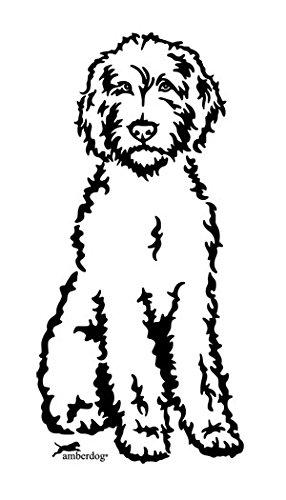 amberdog Labradoodle Art.Nr.AT0230 Aufkleber für Auto Wohnmobil Wohnwagen Autoaufkleber (30x20cm, schwarz)