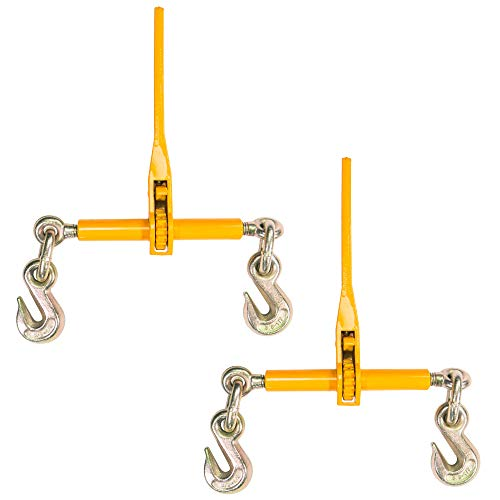 Peerless Ratchet Binder Plus Loadbinder - 3/8 Inch x 1/2 Inch Load Binder - Easily Secure Heavy Loads to A Truck Or Flatbed Trailer - Ratchet Binder with 12,000 Pound Working Load Limit - 2 Pack