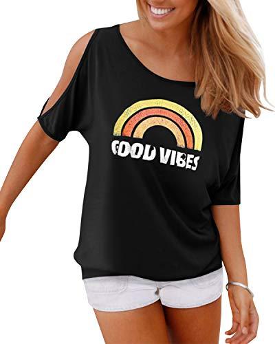 YOINS Bluse Damen Kurzarm Schulterfrei Oberteil Damen Off Shoulder Top Sommer Carmen Shirt Feder Regenbogen-schwarz M