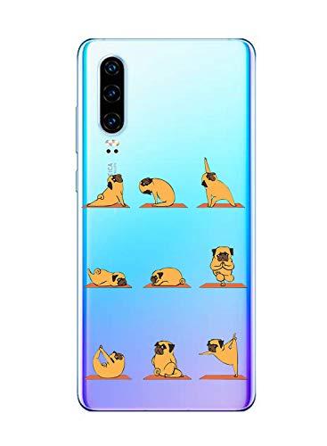 Oihxse Transparent Coque pour Huawei Nova 5i/P20 Lite 2019 Etui en Silicone Souple Gel TPU Protecteur Bumper Hybrid [Ultra Mince] [Antichoc] [Anti-Scratch] Chien Motif Design Housse (A2)