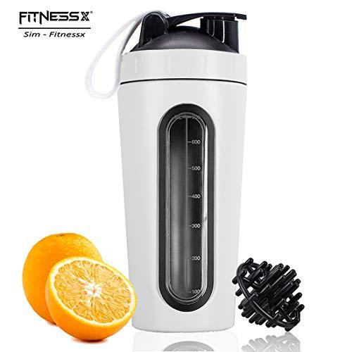 PLC020 700ml Edelstahl Protein Shaker Sport Fitness Shaker Eiweiß | Protein Eeiweiß Shaker Becher mit Kugel (Weiss-700ml)