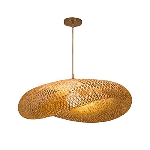 H HILABEE Lámpara de Araña de Bambú Creativa Lámpara Colgante de Techo LED Accesorios de Iluminación de Ratán Bar Restaurante Casa de té Sala de Estar