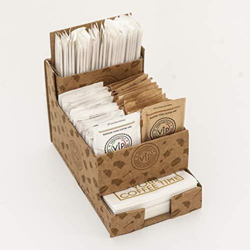 Coffee Service Cube Porte-accessoires complet avec sucre blanc, de canne, de palettes, et lingettes Bar