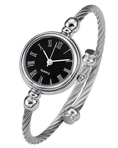 JSDDE Uhren Damen Armbanduhr Chic Manschette Damenuhr Spangenuhr Römische Ziffern Armreifen Quarzuhr Silber Schwarz