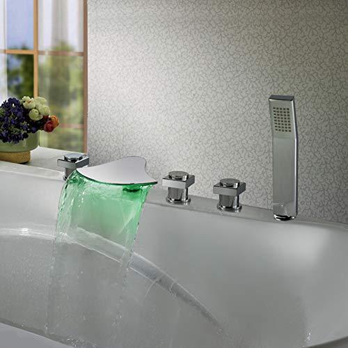 BFDMY 5-Loch-Badewanne Wasserhahn Wasserfall Badewannenarmatur Handbrause Wannen Armatur LED RGB 3 Farbewechsel Wasserfall Messing Wannenrandarmatur Verchromt Mischbatterie,Chromefaucet
