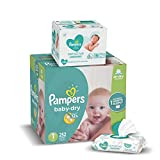 Diapers Newborn / Size 1 (8-14 lb), 252 Count - Pampers Baby Dry Disposable Baby Diapers, ONE MONTH SUPPLY with Baby Wipes Sensitive 6X Pop-Top Packs, 336 Count (Packaging May Vary)