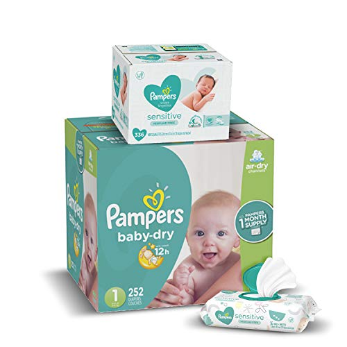 Diapers Newborn / Size 1 814 lb 252 Count  Pampers Baby Dry Disposable Baby Diapers ONE MONTH SUPPLY with Baby Wipes Sensitive 6X PopTop Packs 336 Count Packaging May Vary