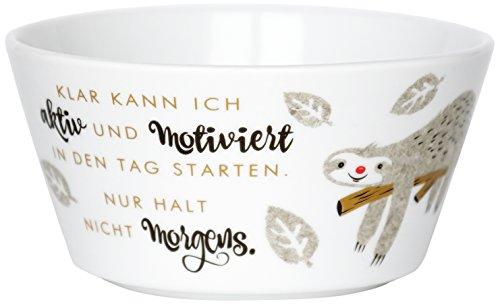 Die Geschenkewelt H:PPY Life 45413 Faultier Motiv und Spruch, Frühstücksschale Schale, Porzellan, Pastellfarben, 13 cm