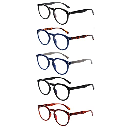 Gafas de Lectura, 5 Pack Blue Light Blocking Lectura Gafas, Color Mix Oval Frame Glasses for computadora, Juego, Lector con dioptrías 0 ~ + 300 (Color : +100, Size : 5 Pack Mix Color)