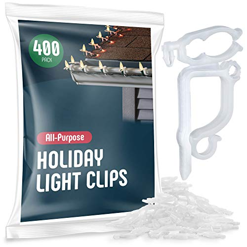 All-Purpose Holiday Light Clips [Set of 400] Christmas Light Clips, Outdoor Light Clips - Mount to shingles & gutters - Works with Mini, C6, C7, C9, Rope, Icicle Lights - No tools required - USA Made