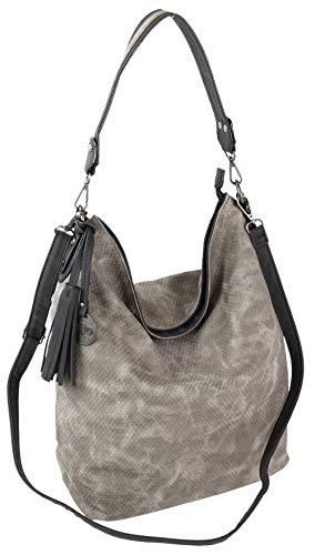 Jennifer Jones Große Schultertasche Eleganter Shopper auch als Crossover Umhängetasche tragbar (Grau)