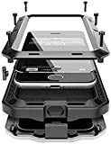 CarterLily Case Compatible with iPhone 12 Pro Max 6.7' 2020, Full Body Shockproof Dustproof Waterproof Aluminum Alloy Metal Gorilla Glass Cover Case for iPhone 12 Pro Max 6.7 inch (Black)