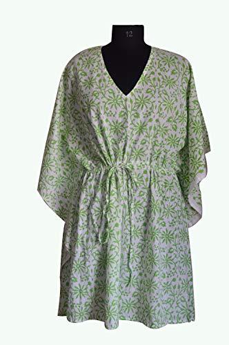 iinfinize India Kimono Caftan Robe Beachwear Color Verde Flor Impresión De Dama...