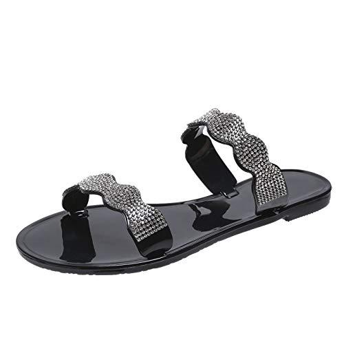 YANFANG Sandalias de Verano para Mujer, Zapatillas Planas de Playa sin Cordones Zapatos de Diamantes de imitación Transpirables con Punta Abierta,Estilo Valenciana (Negro, Numeric_41)