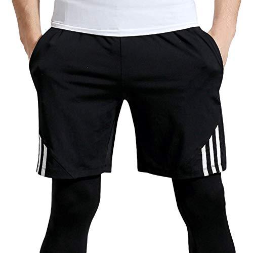 Katenyl Pantalones Cortos Deportivos de Fitness para Hombres Moda al Aire Libre a Rayas Ejercicio a Juego para Correr Casual Pantalones Cortos básicos de Talla Grande L