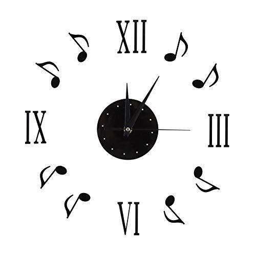 Kit orologio da parete grande fai-da-te moderno Orologio da parete in acrilico Note musicali e numeri romani Orologio Design moderno per l'home office Aula di studio Sala studio Accessori decorativi R