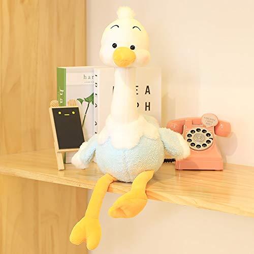 Breakthecocoon Almohada de avestruz, almohada de felpa, almohada de niña pequeña avestruz (color: avestruz azul, tamaño: 35 cm)