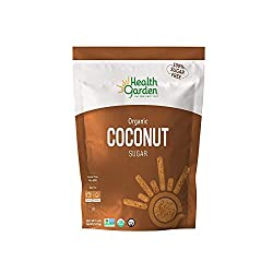 ORGANIC COCONUT SUGAR FROM HEALTH GARDEN IN A BROWN AND WHITE PACKAGE