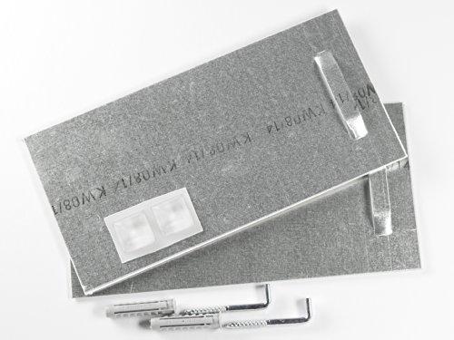 Klebebleche mit Winkelschrauben und ORIGINAL Fischer SX8 Dübeln, Spiegelaufhänger bis 24 kg (10x20 cm), Haftbleche, Aufhänger für Spiegel, Alu-Dibond. selbstklebend - Komplettset!