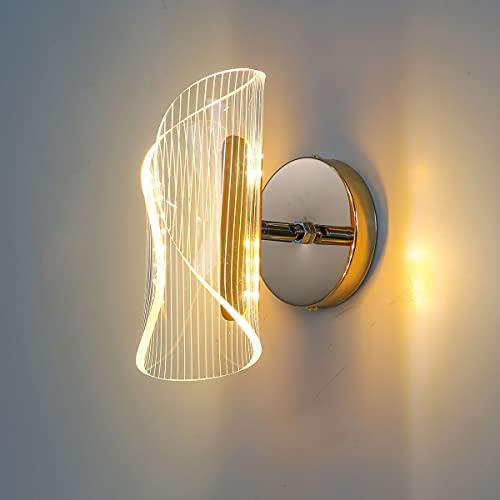 NStar Lampada da Parete Interno Applique da Parete Interni, 6W Acrilico Forma Curva Dimmerabile LED Moderno Regolabile Lampada da Muro, per Interno Decorazione Servizi Pubblici Luce Notturna